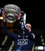 21 November 2020; Dublin captain Stephen Cluxton lifts the Delaney Cup after the Leinster GAA Football Senior Championship Final match between Dublin and Meath at Croke Park in Dublin. Photo by Ray McManus/Sportsfile