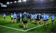 21 November 2020; The Dublin captain Stephen Cluxton leads his team-mates to Hill 16 where he placed a wreath on behalf of the Dublin team after the Leinster GAA Football Senior Championship Final match between Dublin and Meath at Croke Park in Dublin. Photo by Ray McManus/Sportsfile