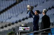 21 November 2020; Dublin captain Stephen Cluxton lifts the cup following their victory in the Leinster GAA Football Senior Championship Final match between Dublin and Meath at Croke Park in Dublin. Photo by Ramsey Cardy/Sportsfile