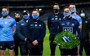 21 November 2020; Dublin captain Stephen Cluxton holds a wreath in memory of some of the people who died in Croke Park on Bloody Sunday on 21 November 1920, following the Leinster GAA Football Senior Championship Final match between Dublin and Meath at Croke Park in Dublin. Photo by Ramsey Cardy/Sportsfile