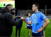 21 November 2020; Brian Fenton of Dublin is congratulated by Dublin County Board Chief Executive John Costello after the Leinster GAA Football Senior Championship Final match between Dublin and Meath at Croke Park in Dublin. Photo by Ray McManus/Sportsfile