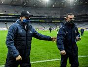 21 November 2020; Dublin manager Dessie Farrell and Meath manager Andy McEntee after the Leinster GAA Football Senior Championship Final match between Dublin and Meath at Croke Park in Dublin. Photo by Ray McManus/Sportsfile
