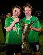 21 November 2020; Peamount United players Sadhbh Doyle, left, and Dearbhaile Beirne celebrate with the trophy after winning the Women's National League following victory over Shelbourne at PRL Park in Greenogue, Dublin. Photo by Seb Daly/Sportsfile