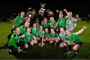 21 November 2020; Peamount United players and Denis Cummins, Peamount United facilities manager, celebrate with the trophy after winning the Women's National League following victory over Shelbourne at PRL Park in Greenogue, Dublin. Photo by Seb Daly/Sportsfile