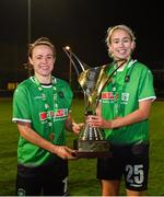 21 November 2020; Peamount United players Áine O'Gorman and Stephanie Roche celebrate with the trophy after winning the Women's National League following victory over Shelbourne at PRL Park in Greenogue, Dublin. Photo by Seb Daly/Sportsfile