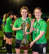 21 November 2020; Dearbhaile Beirne, left, and Lucy McCartan of Peamount United celebrate with the trophy after winning the Women's National League following victory over Shelbourne at PRL Park in Greenogue, Dublin. Photo by Seb Daly/Sportsfile