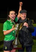 21 November 2020; Niamh Farrelly of Peamount United and her father Mathew Farrelly celebrate following the Women's National League match between Peamount United and Shelbourne at PRL Park in Greenogue, Dublin. Photo by Seb Daly/Sportsfile