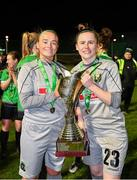 21 November 2020; Peamount United goalkeepers Naoisha McAloon, left, and Niamh Reid-Burke celebrate with the trophy after winning the Women's National League following victory over Shelbourne at PRL Park in Greenogue, Dublin. Photo by Seb Daly/Sportsfile