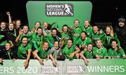 21 November 2020; Peamount United captain Áine O'Gorman celebrates with team-mates after winning the Women's National League alongside her team-mates following their victory over Shelbourne at PRL Park in Greenogue, Dublin. Photo by Seb Daly/Sportsfile
