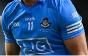 21 November 2020; An acknowledgement of Bloody Sunday is seen on the jersey of Ciarán Kilkenny of Dublin on the 100th anniversary, remembering the 14 people who died in Croke Park on Bloody Sunday on 21 November 1920, during the Leinster GAA Football Senior Championship Final match between Dublin and Meath at Croke Park in Dublin. Photo by Brendan Moran/Sportsfile
