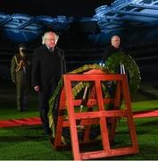21 November 2020; President Michael D Higgins, left, and Uachtarán Chumann Lúthchleas Gael John Horan place wreaths during the GAA Bloody Sunday Commemoration at Croke Park in Dublin. On this day 100 years ago, Sunday 21 November 1920, an attack by Crown Forces on the attendees at a challenge Gaelic Football match between Dublin and Tipperary during the Irish War of Independence resulted in 14 people being murdered. Along with the 13 supporters that lost their lives that day a Tipperary footballer, Michael Hogan, also died. The main stand in Croke Park, the Hogan Stand, was subsequently named after him. Photo by Stephen McCarthy/Sportsfile