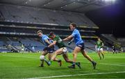 21 November 2020; Donal Keogan of Meath in action against Paul Mannion, left, and Michael Fitzsimons of Dublin during the Leinster GAA Football Senior Championship Final match between Dublin and Meath at Croke Park in Dublin. Photo by Brendan Moran/Sportsfile