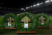 21 November 2020; Ceremonial Laurel Wreaths which were placed by Ard Stiúrthóir of the GAA Tom Ryan, President Michael D Higgins and Uachtarán Chumann Lúthchleas Gael John Horan are seen during the GAA Bloody Sunday Commemoration at Croke Park in Dublin. On this day 100 years ago, Sunday 21 November 1920, an attack by Crown Forces on the attendees at a challenge Gaelic Football match between Dublin and Tipperary during the Irish War of Independence resulted in 14 people being murdered. Along with the 13 supporters that lost their lives that day a Tipperary footballer, Michael Hogan, also died. The main stand in Croke Park, the Hogan Stand, was subsequently named after him. Photo by Stephen McCarthy/Sportsfile