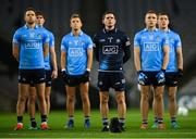 21 November 2020; Dublin captain and goalkeeper Stephen Cluxton and team-mates stand for the national anthem prior to the Leinster GAA Football Senior Championship Final match between Dublin and Meath at Croke Park in Dublin. Photo by Stephen McCarthy/Sportsfile