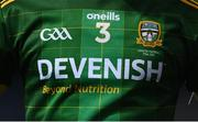 21 November 2020; A detailed view of the Meath jersey featuring the Devenish sponsorship logo during the Leinster GAA Football Senior Championship Final match between Dublin and Meath at Croke Park in Dublin. Photo by Stephen McCarthy/Sportsfile