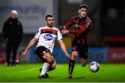 20 November 2020; Michael Duffy of Dundalk and Dawson Devoy of Bohemians during the Extra.ie FAI Cup Quarter-Final match between Bohemians and Dundalk at Dalymount Park in Dublin. Photo by Ben McShane/Sportsfile