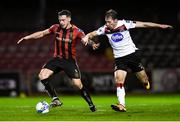 20 November 2020; Rob Cornwall of Bohemians and David McMillan of Dundalk during the Extra.ie FAI Cup Quarter-Final match between Bohemians and Dundalk at Dalymount Park in Dublin. Photo by Ben McShane/Sportsfile