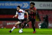 20 November 2020; Promise Omochere of Behemians and Michael Duffy of Dundalk during the Extra.ie FAI Cup Quarter-Final match between Bohemians and Dundalk at Dalymount Park in Dublin. Photo by Ben McShane/Sportsfile