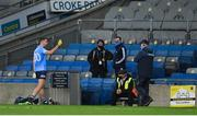 21 November 2020; Cormac Costello of Dublin speaks to Dublin manager Dessie Farrell after being shown a red card during the Leinster GAA Football Senior Championship Final match between Dublin and Meath at Croke Park in Dublin. Photo by Ramsey Cardy/Sportsfile