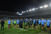 21 November 2020; Dublin captain Stephen Cluxton stands with his team-mates during a wreath laying ceremony following the Leinster GAA Football Senior Championship Final match between Dublin and Meath at Croke Park in Dublin. Photo by Ramsey Cardy/Sportsfile