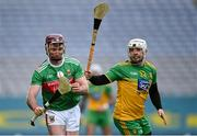 22 November 2020; Cathal Freeman of Mayo in action against David Flynn of Donegal during the Nickey Rackard Cup Final match between Donegal and Mayo at Croke Park in Dublin. Photo by Piaras Ó Mídheach/Sportsfile