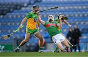 22 November 2020; Seán Regan of Mayo is fouled by Declan Coulter of Donegal during the Nickey Rackard Cup Final match between Donegal and Mayo at Croke Park in Dublin. Photo by Piaras Ó Mídheach/Sportsfile