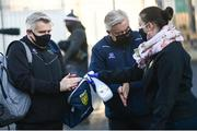 22 November 2020; Geraldine McCavanagh sanitizes the hands of selector Stephen Rochford, left, and Donegal county board Chairman Mick McGrath prior to the Ulster GAA Football Senior Championship Final match between Cavan and Donegal at Athletic Grounds in Armagh. Photo by David Fitzgerald/Sportsfile