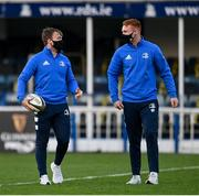 22 November 2020; David Hawkshaw, left, and Ciarán Frawley of Leinster ahead of the Guinness PRO14 match between Leinster and Cardiff Blues at the RDS Arena in Dublin. Photo by Ramsey Cardy/Sportsfile