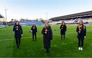 22 November 2020; The TG4 team, from left, Máire Ní Bhraonáin, Deirbhile Nic a Bháird, Máire Treasa Ní Dhubghaill, Jenny Murphy and Eimear Considine ahead of the Guinness PRO14 match between Leinster and Cardiff Blues at the RDS Arena in Dublin. Photo by Ramsey Cardy/Sportsfile