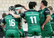 22 November 2020; Tom Daly of Connacht, centre, celebrates with team-mates after scoring his side's fifth try during the Guinness PRO14 match between Zebre and Connacht at Stadio Lanfranchi in Parma, Italy. Photo by Roberto Bregani/Sportsfile
