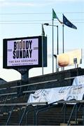 22 November 2020; A tribute to bloody sunday is seen on the big screen prior to the Ulster GAA Football Senior Championship Final match between Cavan and Donegal at Athletic Grounds in Armagh. Photo by David Fitzgerald/Sportsfile