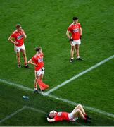 22 November 2020; Dejected Cork players, left to right, Sean White, Cathail O' Mahony, Brian Hurley, and Maurice Shanley after the Munster GAA Football Senior Championship Final match between Cork and Tipperary at Páirc Uí Chaoimh in Cork. Photo by Daire Brennan/Sportsfile