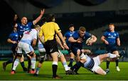 22 November 2020; Dan Leavy of Leinster is tackled by Ethan Lewis of Cardiff Blues during the Guinness PRO14 match between Leinster and Cardiff Blues at the RDS Arena in Dublin. Photo by Ramsey Cardy/Sportsfile