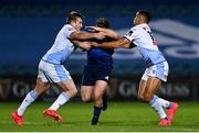 22 November 2020; Liam Turner of Leinster is tackled by Garyn Smith, left, and Ben Thomas of Cardiff Blues during the Guinness PRO14 match between Leinster and Cardiff Blues at the RDS Arena in Dublin. Photo by Ramsey Cardy/Sportsfile