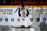22 November 2020; Cavan captain Raymond Galligan lifts the Anglo Celt Cup following the Ulster GAA Football Senior Championship Final match between Cavan and Donegal at Athletic Grounds in Armagh. Photo by David Fitzgerald/Sportsfile