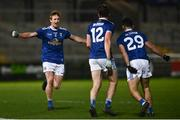 22 November 2020; Jason McLoughlin of Cavan runs to celebrate with team-mates Oisin Kernan, centre, and Conor Smith following the Ulster GAA Football Senior Championship Final match between Cavan and Donegal at Athletic Grounds in Armagh. Photo by David Fitzgerald/Sportsfile