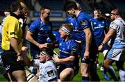 22 November 2020; James Tracy of Leinster celebrates with team-mates Dave Kearney, left, and Harry Byrne after scoring their side's third try during the Guinness PRO14 match between Leinster and Cardiff Blues at RDS Arena in Dublin. Photo by Brendan Moran/Sportsfile