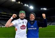 22 November 2020; Kildare manager David Herity and Jack Sheridan celebrate after the Christy Ring Cup Final match between Down and Kildare at Croke Park in Dublin. Photo by Piaras Ó Mídheach/Sportsfile