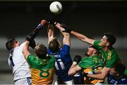 22 November 2020; Gearoid McKiernan of Cavan, centre, and goalkeeper Raymond Galligan clear the ball under pressure from Donegal players, from left, Hugh McFadden, Ciaran Thompson and Michael Langan during the Ulster GAA Football Senior Championship Final match between Cavan and Donegal at Athletic Grounds in Armagh. Photo by David Fitzgerald/Sportsfile