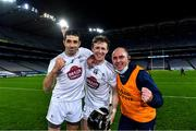 22 November 2020; Kildare players John Doran, left, and Brian Byrne celebrate with selector Declan O'Toole after the Christy Ring Cup Final match between Down and Kildare at Croke Park in Dublin. Photo by Piaras Ó Mídheach/Sportsfile