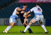 22 November 2020; Josh Murphy of Leinster is tackled by Dmitri Arhip, left, and James Ratti of Cardiff Blues during the Guinness PRO14 match between Leinster and Cardiff Blues at the RDS Arena in Dublin. Photo by Ramsey Cardy/Sportsfile