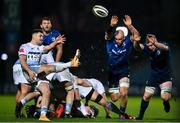 22 November 2020; Tomos Williams of Cardiff Blues in action against Rhys Ruddock, left, and Dan Leavy of Leinster during the Guinness PRO14 match between Leinster and Cardiff Blues at the RDS Arena in Dublin. Photo by Ramsey Cardy/Sportsfile