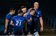 22 November 2020; Michael Silvester of Leinster celebrates with team-mates after scoring a try during the Guinness PRO14 match between Leinster and Cardiff Blues at the RDS Arena in Dublin. Photo by Ramsey Cardy/Sportsfile