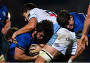 22 November 2020; Michael Milne of Leinster supported by Dan Sheehan, right, is tackled by Teddy Williams of Cardiff Blues during the Guinness PRO14 match between Leinster and Cardiff Blues at the RDS Arena in Dublin. Photo by Ramsey Cardy/Sportsfile