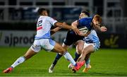 22 November 2020; Ciarán Frawley of Leinster is tackled by Ben Thomas and Tomos Williams of Cardiff Blues during the Guinness PRO14 match between Leinster and Cardiff Blues at RDS Arena in Dublin. Photo by Brendan Moran/Sportsfile