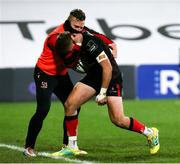 22 November 2020; Stewart Moore, right, of Ulster celebrates with Ian Madigan after scoring his side's second try during the Guinness PRO14 match between Ulster and Scarlets at Kingspan Stadium in Belfast. Photo by John Dickson/Sportsfile