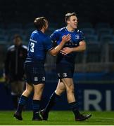 22 November 2020; Michael Silvester of Leinster is congratulated by Liam Turner, left, after scoring a try during the Guinness PRO14 match between Leinster and Cardiff Blues at the RDS Arena in Dublin. Photo by Ramsey Cardy/Sportsfile