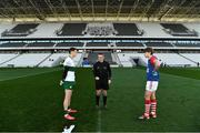 22 November 2020; Referee Maurice Deegan and the two captains, Conor Sweeney of Tipperary, left, and Ian Maguire of Cork, before the Munster GAA Football Senior Championship Final match between Cork and Tipperary at Páirc Uí Chaoimh in Cork. Photo by Ray McManus/Sportsfile