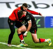 22 November 2020; Stewart Moore of Ulster, left, is congratulated by team-mate Ian Madigan after he scored his side's second try during the Guinness PRO14 match between Ulster and Scarlets at Kingspan Stadium in Belfast. Photo by John Dickson/Sportsfile