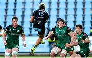 22 November 2020; Connacht players, from left, Gavin Thornbury, Sean Masterson and Tom Farrell watch Junior Laloifi of Zebre as he gains possession of a high ball during the Guinness PRO14 match between Zebre and Connacht at Stadio Lanfranchi in Parma, Italy. Photo by Roberto Bregani/Sportsfile